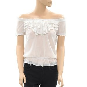 Free People Smocked Tiered Off Shoulder Top S